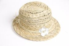 Fashionable Women Summer Straw Tribly Beige Hat w Flower Detail One Size (S330)