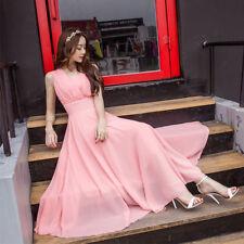 Women Chiffon Dresses Swing Boho Beach Fairy Evening Party Maxi Gown Plus Size