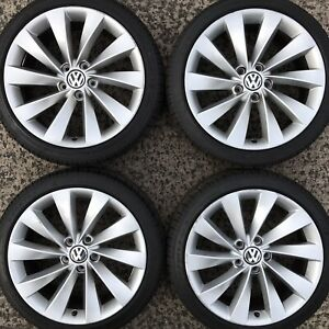 "Genuine VW Passat CC Scirocco 18"" Interlagos Alloy Wheels Tyres 225 40 Eos Rims"