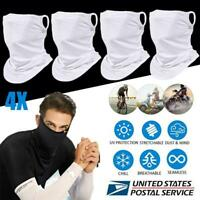 4x Face Mask Neck Gaiter Bandana Ice Silk Shield Balaclava Scarf Headband White