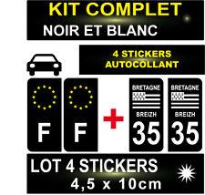 4 STICKERS NOIR REGION + F PLAQUE IMMATRICULATION DEPARTEMENT 35 BLASON BRETAGNE