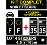 4 STICKERS NOIR REGION + F PLAQUE IMMATRICULATION DEPARTEMENT 35 BLASON BRETAGNE