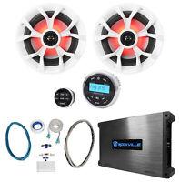 "(2) Rockville RKL65MBW 6.5"" 700w Marine LED Speakers+Receiver+Amplifier+Amp Kit"