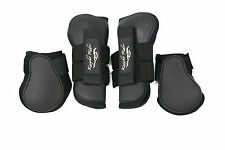 !!Top Quality Open Front Tendon & Fetlock Boots set, BLACK Pony !!