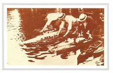Nostalgia Postcard Wembley Park London 1908 Men & Model Motor Boats Repro NS53