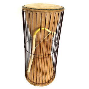 "Classic Heartwood Dondo Talking Drum with stick - Large (8""x18"") - Ghana"