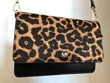 Michael Kors Black with Animal Print Cross Body Purse
