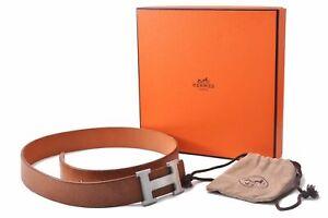 "Authentic HERMES Ladies Leather Belt Size 70 33.1"" Brown Box D1276"