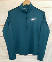 Women's NIKE Dry-Fit Element Half Zip Long Sleeve Running Shirt Green Small S Sm