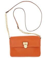 Calvin Klein Handbag Modena Crossbody Burnt orange leather gold chain purse new