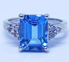 Swiss Blue Topaz And Diamond Ring 10x8 Emerald cut finger size 5 3/4