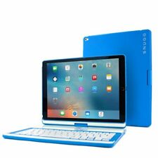 iPad Pro 12.9 Keyboard Case 2017/2015 360 Stand Cover Wireless Bluetooth (Blue)