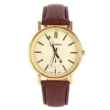 Braun Damen Herren Leder Armband Armbanduhr Herrenuhr Damenuhr Watches NEU