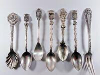8 Vintage Souvenir Spoon Silver Plated