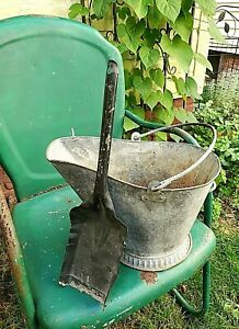 Vintage small Galvanized Coal Scuttle Ash Bucket with shovel Double Handles