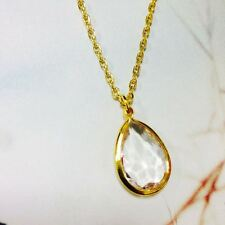 Dainty Water-drop Crystal Rhinestone Pandent Minimalist Necklace Gold Plated