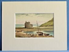 LOCH RANZA CASTLE AND OLD BOATS ARRAN SUPERB QUALITY ANTIQUE MOUNTED CHROMO