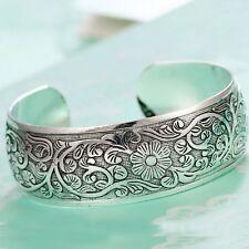 Ethnic Boho Cuff Bracelet Jewelry Carved Flower Bangles