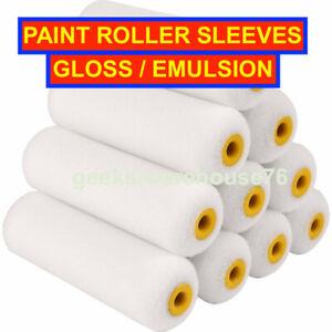 """10 Pack Set Gloss Emulsion Paint Mini Roller Sleeves Foam Pile Refills 4"""" 7"""" 9"""""""