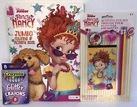 New 3pc Fancy Nancy Jumbo Coloring & Activity Book, Pencil Set + Glitter Crayons