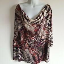 Dressbarn Women's ¾ Sleeve Cowl Neck Knit Top Iridescent print