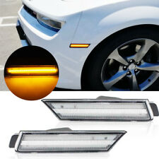 2010-2015 Chevy Camaro Amber Led Front Side Marker Lights Clear Replacement