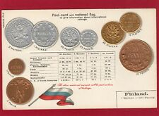More details for finland embossed coin pennia markka postcard with national flag unused al69