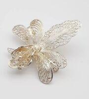 Sterling Silver Filigree Intricate Flower Brooch Vintage Jewellery
