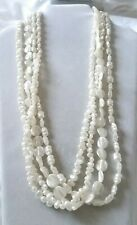 VINTAGE FAUX PEARL BEADED MULTI STRAND NECKLACE