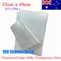 AU Stock 33cm x 48cm Waterproof Inkjet Milky Transparency Film - 100 Sheets/pack