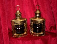 Pair of Brass & Red Glass Nautical Lights