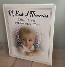 Personalised large photo album, my book of memories baby memory book, birthday.