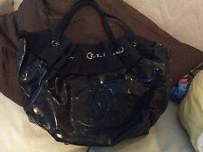 Authentic chanel spirit cabas large tote shoulder hand bag purse shopper