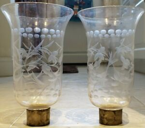 Antique 1800's Pair Etched Hand Blown Glass Hurricane Candle Lamp Chimney Shades