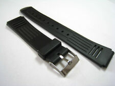 Black Rubber/Plastic Lined Watch Strap. 16mm, 18mm & 20mm. Fast Delivery from UK