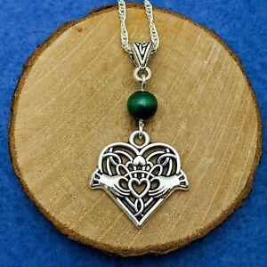 Claddagh Heart With Malachite Bead Handmade Silver Tone Pendant Necklace
