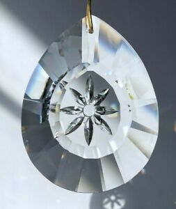 Etched Flower Teardrop Crystal Clear Prism Suncatcher 50mm or 76mm