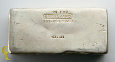 100 oz Engelhard .999 Fine Silver Hand Poured Bar One Hundred Ounce 1500 Minted!
