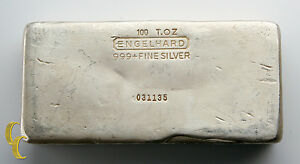 100 T.OZ Engelhard .999 Fine Silver Hand Poured Bar  1500 Minted!