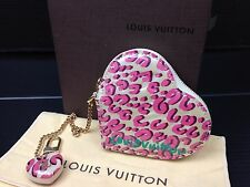 Authentic LOUIS VUITTON Vernis Leather Ivory Pink Heart Coin Case 7B220230s