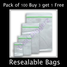 Small clear-Clear Bags Plastic Baggies Grip Self Seal Resealable Zip Lock B3 UK