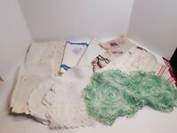 Vtg Small Assorted Mixed Linen Lot Crochet Needlepoint Doilies Crafts Cutter #2