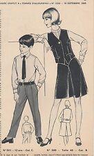 Patron à décalquer Femmes d'Aujourd'hui N°1220 septembre 1968 ensemble femme T40
