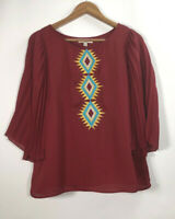 Ya Los Angeles Boutique Women's Size L Top Blouse Embroidered Silk Blend