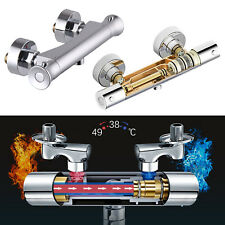 Modern Bathroom Exposed Thermostatic Bar Shower Mixer Valve Round Tap Set Chrome