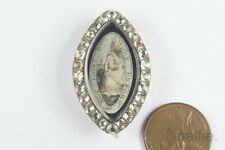 ANTIQUE ENGLISH GEORGIAN PERIOD GOLD & SILVER PASTE SEPIA MOURNING BROOCH c1790