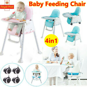 4 in 1 Baby Kids Toddler Infant High Chair Feeding Seat Chair Foldable Highchair