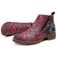 SOCOFY Women Sooo Comfy Embroidery Genuine Leather Boots Splicing Zipper Shoes