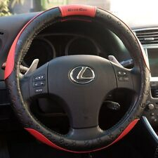 "Black & Red PVC Leather Steering Wheel Cover Sport Design 51004 14.25""-15"" M"