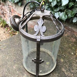 Vintage Porch Outside Lantern Light Lamp - Textured Metal Glass Lighting Retro